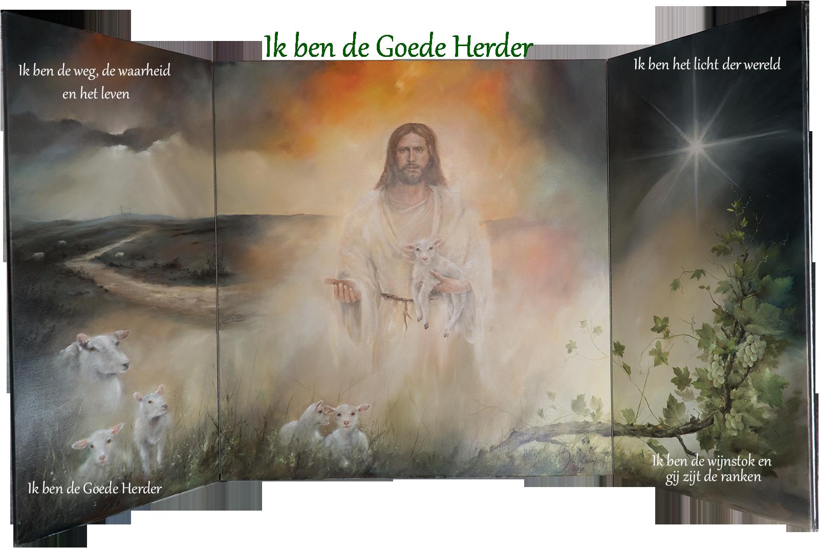 Drieluik: ik ben de Goede Herder. Schilder Jan Kooistra. Te zien in de galerie in Dokkum