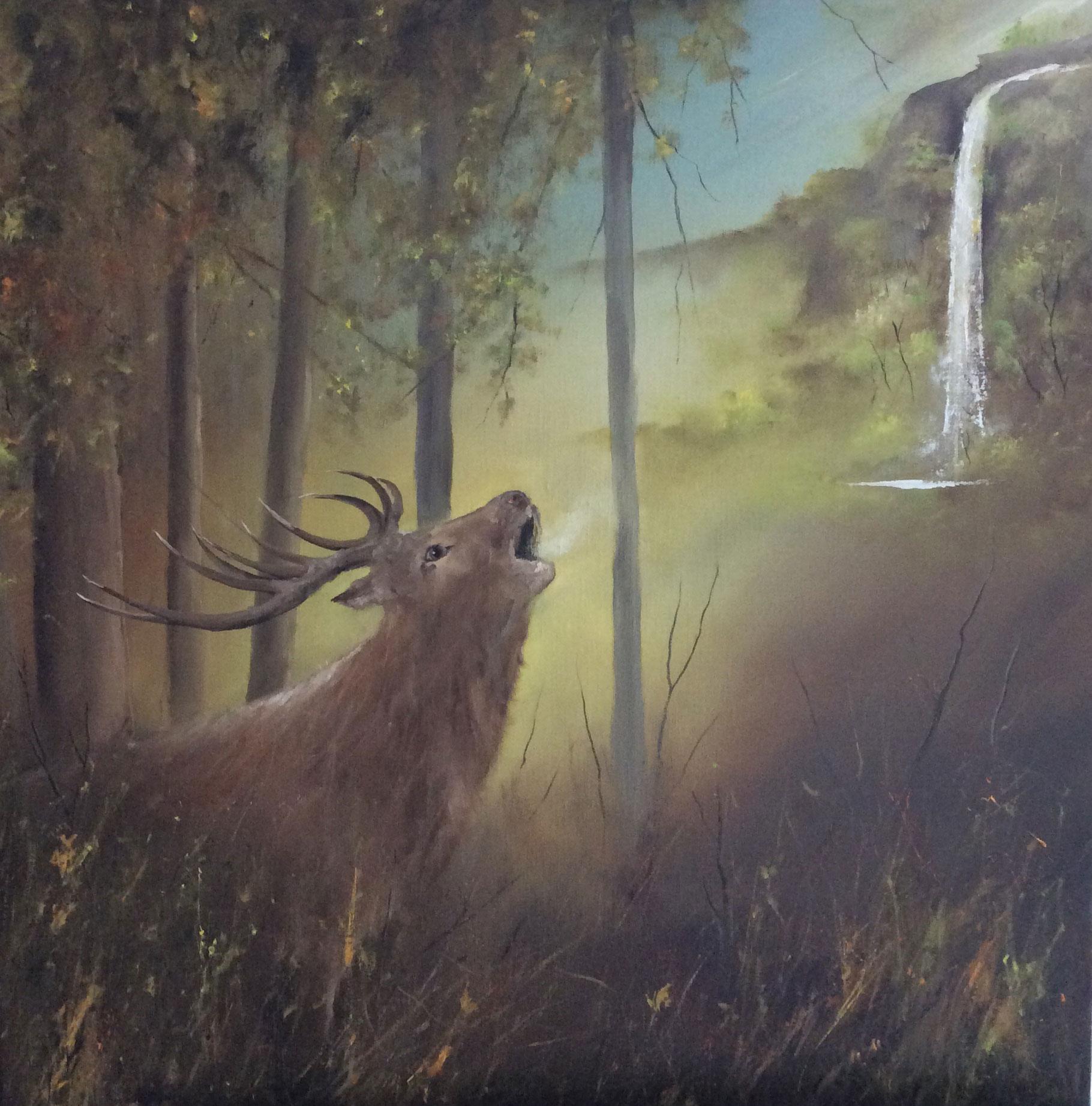 hijgend hert der jacht ontkomen ,schreeuwt niet sterker naar t genot, van de frisse waterstromen,dan mijn ziel verlangt naar God...psalm 42. Olieverf formaat 80/80 cm